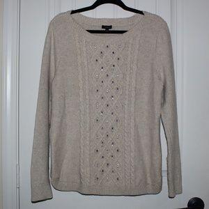 Talbots bejeweled cream sweater L BB